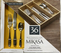 Mikasa Hamilton 36 Pc 18/10 Stainless Steel Flatware Wood Caddy Service For 12
