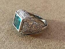 HSN Rarities by Carol Brodie  2.55 ctw Apatite & Diamond Sterling 925 ring Sz 10