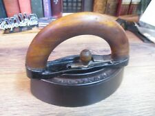 ANTIQUE Cast Iron Flat Sad Iron Howell & Co Geneva Illinois Wood Handle E 1800'S