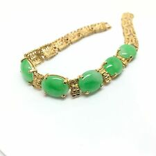 18k Yellow Gold Natural Jade Bracelet. Lucky Stone