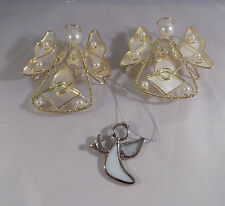 Lot 3 Angel Ornaments Capiz Shell Gold Tone Metal
