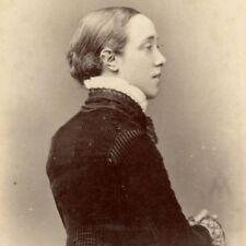 1880s WOMAN PROFILE VELVET COAT CDV PHOTO CARTE DE VISITE VICTORIAN SCARBOROUGH
