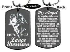 MY ANGEL UP IN HEAVEN POEM-Dog tag Necklace/Keychain + PERSONALIZE W/ NAME