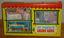 My Perfect Dream Home vintage doll house furniture w/box bedroom, bath, dining