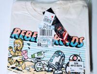 Star Wars Disney Mens Medium Rebel Droids C3PO BB8 R2D2 Graph Tshirt New Tag NWT