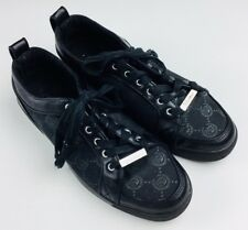 Mens Cadillac Lace Up Shoes Size 10 Black Sneaker Logo Print Casual