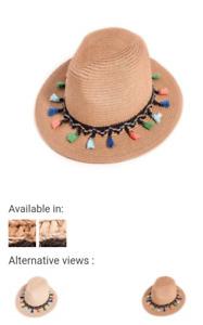 Girls/Ladies Straw Wide Brim Fedora Hat with Coloured Tassle Band