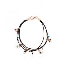 Black leather rope bracelet natural stone stainless steel bear bracelet