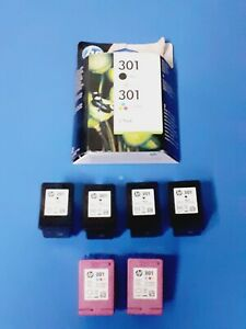 6 Original leere Druckerpatronen HP 301,4x Black + 2x Tri-Colour