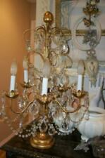 ITALIAN TOLE GILT GIRANDOLE CANDELABRA LAMP CRYSTAL BEADED XL CHANDELIER ANTIQUE