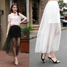 Womens Gauze See Through Mesh Tulle Lace Floral Gothic Long Maxi Skirt Dress