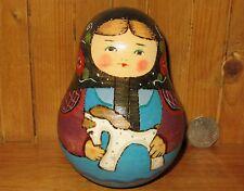 Russian Wobbly doll signed RYABOVA ROLY POLY TRADITIONAL MATRYOSHKA HORSE  GIFT