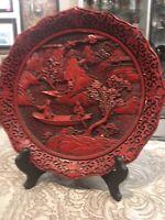Vintage Mid Century Modern Asian Cinnabar Carved Ornate Plate Wall Art
