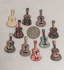 "10 GUITAR SHAPED 2-hole Wooden Buttons 1-3/8"" x 3/4"" (36mm) Scrapbook Craft 5062"