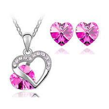 Rose Heart Crystal Pendant Necklace Chain and Earrings Wedding Jewellery Set