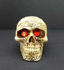 Skull Head Figurine With Red Eyes Small Celtic Knot Halloween Decoration 3