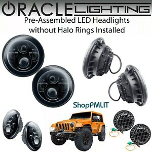 """ORACLE Pre-Assembled Black - High Power LED Halo 7"""" Round Headlights *All Colors"""