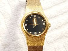 Vintage Seiko Watch Two Tone Black Dial Swarovski Crystals Dress Chain Women's