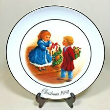 Vtg 1984 and 1990 Lot of 2 Collectable Avon Christmas Plates Porcelain Gold Trim