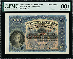Switzerland 100 Franken SPECIMEN 1945 Pick-35s1 GEM UNC PMG 66 EPQ