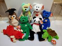 Lot Of 8 Vintage ty Beanie Babies in Great condition - Clubby Erin Speedy Peace