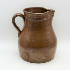 Stoneware Pitcher Extra Large Brown Antique Primitive Handmade Holds 1 Gallon