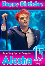 GERARD WAY Personalised Birthday Card! ANY NAME / AGE / RELATION A5 SIZE! GREAT!