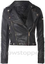 Taille 10 12 14 16 18 Noir cire enduit look en cuir synthétique veste trench coat mac