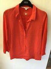 White Stuff Red Casual Ladies 6 Button,shirt/blouse Top Shirt,loose Fit  Size 12