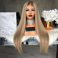 Women Long Straight Ombre Hair Wig Synthetic Blonde Wig Cosplay Full Wig