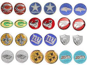 glitter earring post stud charm NFL Pick your team