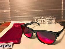 NEW Oakley - FROGSKINS - Sunglasses Crystal Black / Positive Red Iridium, 24-304