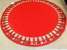 "Scandinavian Christmas Red Felt Table Cloth Tree Mat 35"" Round Gnomes  #7112"