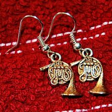 Glittery Gold FRENCH HORN Music Earrings * Made in USA * FAST SHIP A23H
