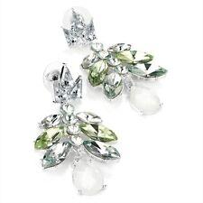 Green & White Opal Effect Drop Earrings