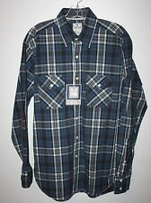 Mens Size M Blue Plaid Button Down Shirt Long Sleeve by Non-Fiction NEW NWT
