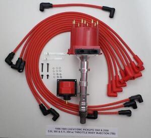87-95 CHEVY GMC PICKUPS 1500 2500 350 305 TBI DISTRIBUTOR + PLUG WIRES + COIL
