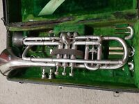 ANTIQUE CONN NEW WONDER CORNET WITH EXTRA SLIDES AND DIAL ADJUSTMENT
