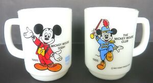 2 PC VINTAGE PEPSI ANCHOR HOCKING DISNEY MICKEY MOUSE COFFEE MUGS CUPS
