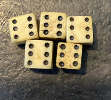 Authentic Revolutionary War Era Small Bone Dice W/ Crown & Gr Stamps & tin cup