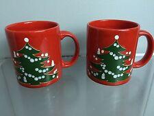2 WAECHTERSBACH W. Germany Red Christmas Mugs - Christmas Xmas Trees