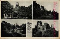 AK Riesengebirge, Bibersteine, Schles., mit Baude, 4 Ansichten, 27/09