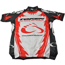 NEW TOKEN Products Cycling Jersey Short Sleeve Full Zipper White Red Black LARGE
