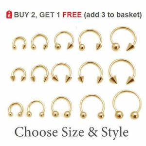 GOLD Horseshoe Bar Circular Barbell Surgical Steel Ring Septum Nipple Ear 16-14G