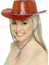 COWBOY GLITTER HAT, COWBOYS & INDIANS FANCY DRESS, COWGIRL  ONE SIZE, WOMENS