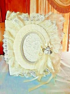 VINTAGE ELABORATE LACE- COVERED/PEARL ENCRUSTED WEDDING ALBUM