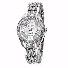 Ladies Women's Stainless Steel Crystal Diamonds Dial Analog Quartz Wrist Watch