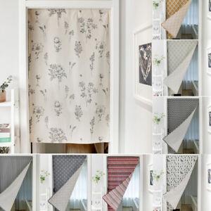 Modern Printed Door Curtains Rod Pocket Window Doorway Half Curtain Living Room