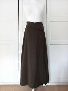Oska Kakhi Green Wool Wrap Long Skirt Size 1 UK10
