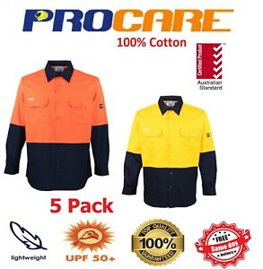 5 X Hi Vis Work shirts Cotton Drill ProCare Long Sleeves Safety workwear